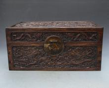 CHINESE HUANGHUALI DRAGON JEWELRY CASE