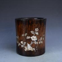 CHINESE MOTHER OF PEARL INLAID BRUSH POT