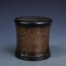 CHINESE SILVER THREAD INLAID COPPER BRUSH POT