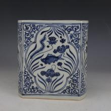 CHINESE PORCELAIN BLUE AND WHITE FISH AND WEED SQUARE BRUSH POT