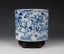 CHINESE PORCELAIN BLUE AND WHITE BOY PLAYING BRUSH POT