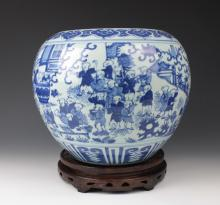 CHINESE PORCELAIN BLUE AND WHITE BOY PLAYING BOWL