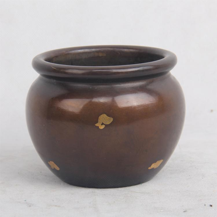 CHINESE POINT GILT BRONZE BRUSH WASHER