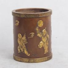 CHINESE GILT BRONZE BOY PLAYING BRUSH POT