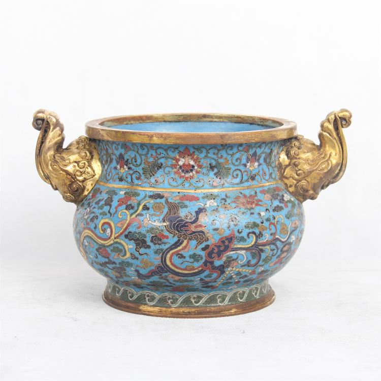 CHINESE CLOISONNE ELEPHANT HEAD HANDLE CENSER