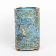 CHINESE CLOISONNE CYLINDERIAL BRUSH POT