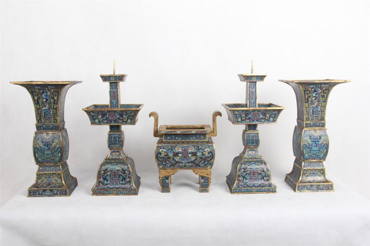 A SET OF FIVE CHINESE CLOISONNE CENSER CANDLE HOLDER VASES