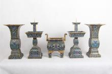 A SET OF FIVE CHINESE CLOISONNE CENSER CANDLE HOLDER VASES