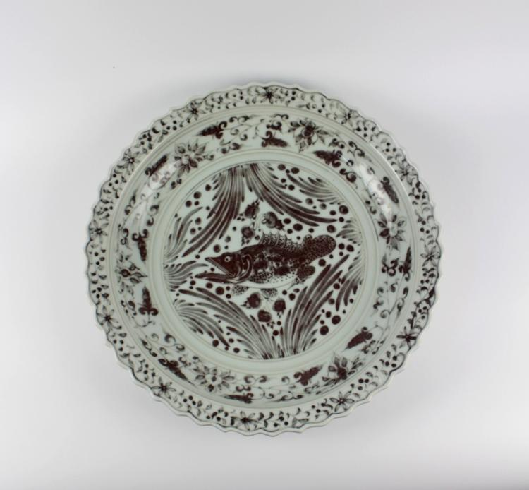 CHINESE PORCELAIN RED UNDER GLAZE FISH CHARGER