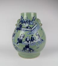 CHINESE PORCELAIN BLUE GROUND BLUE AND WHITE JAR