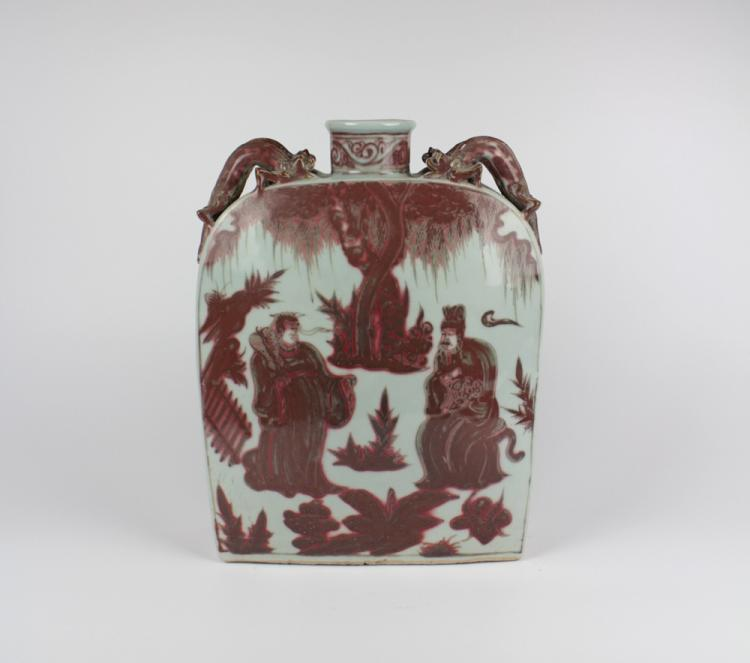 CHINESE PORCELAIN RED UNDER GLAZE FLATTEN SQUARE VASE