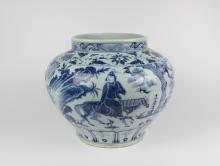 CHINESE PORCELAIN BLUE AND WHITE WARRIOR JAR