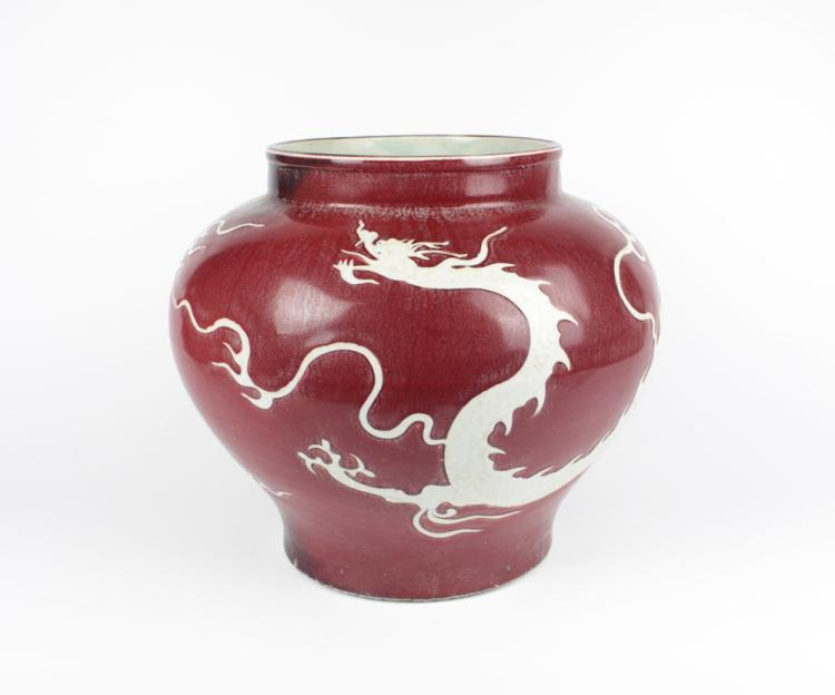 CHINESE PORCELAIN RED GLAZE WHITE DRAGON JAR