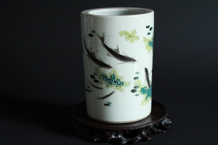 CHINESE PORCELAIN FAMILLE ROSE FISH BRUSH POT