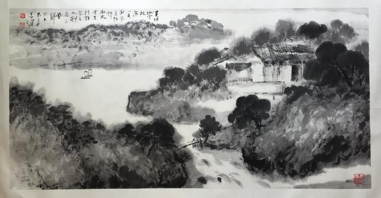 CHINESE HARIZONAL SCROLL PAINTING OF MOUNTAIN VIEWS