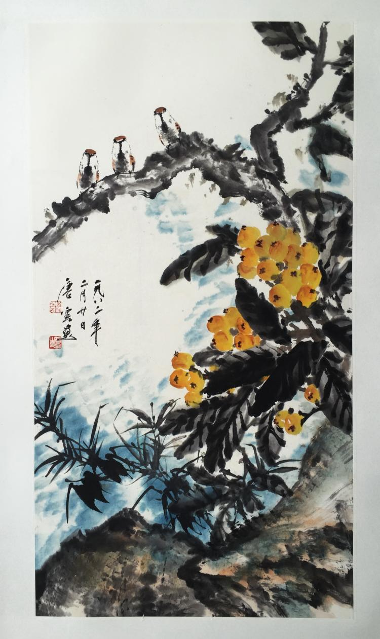 CHINESE SCROLL PAINTING OF BIRDS AND FRUITS