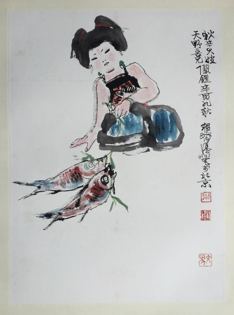 CHINESE SCROLL PAINTING OF GIRL AND FISH