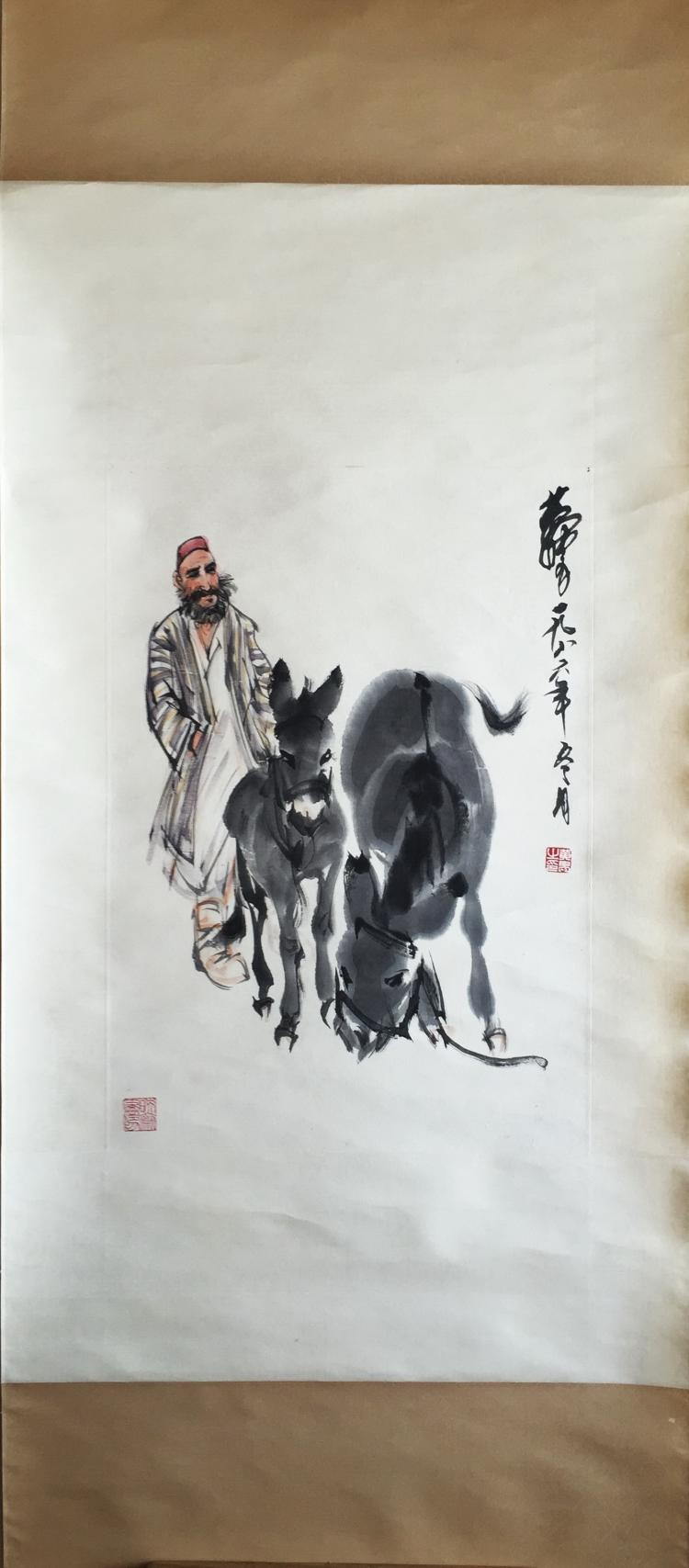 CHINESE SCROLL PAINTING OF MAN AND TWO DONKEYS