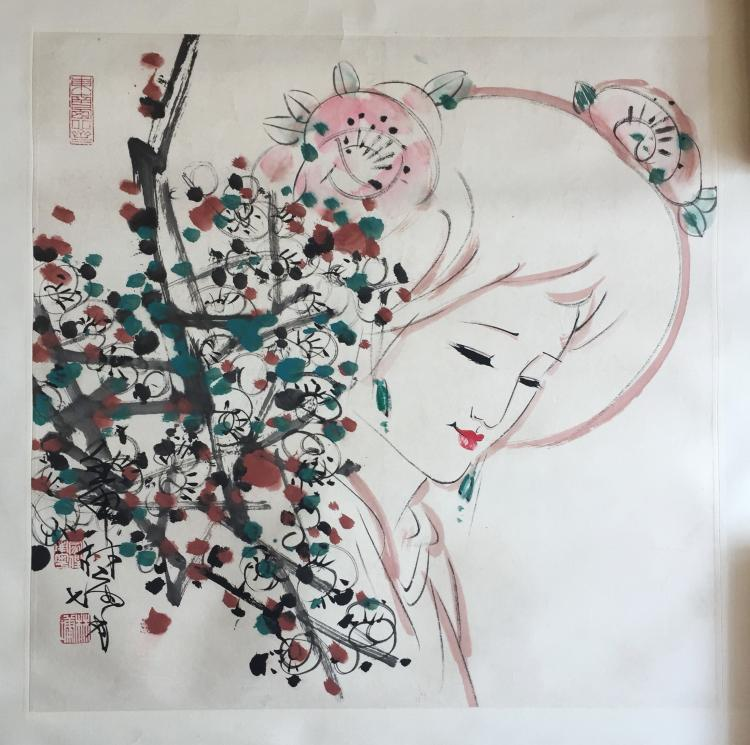 CHINESE SCROLL PAINTING OF GIRL AND FLOWER