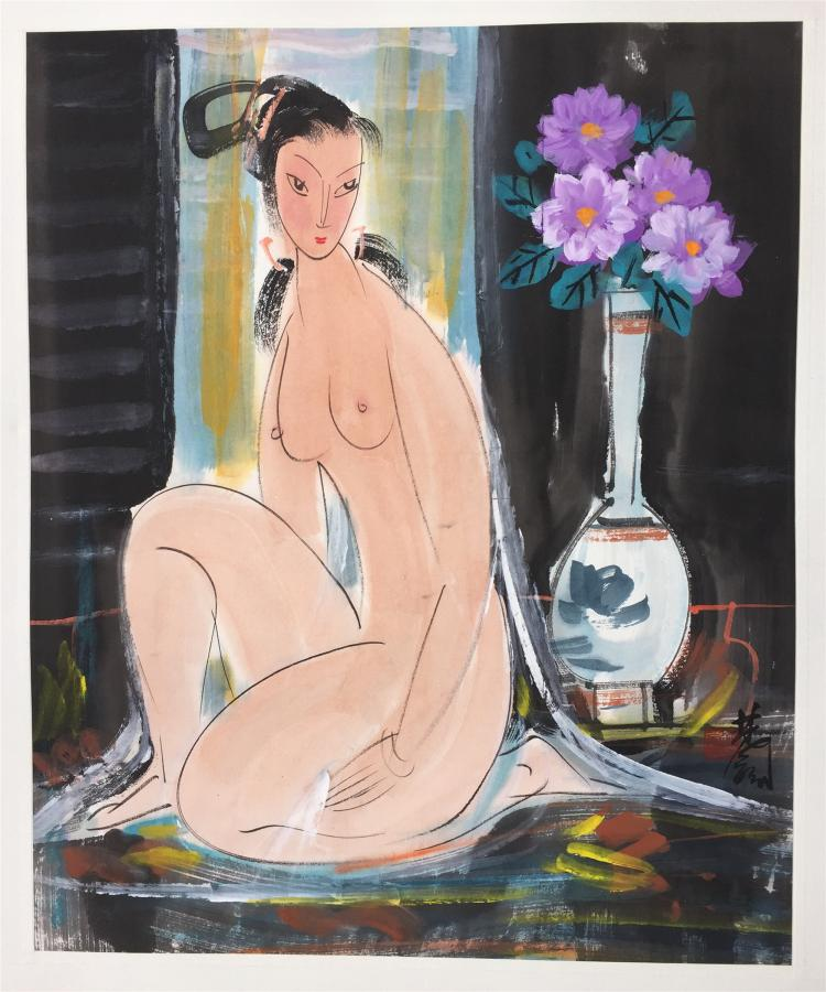 CHINESE SCROLL PAINTING OF NUDE