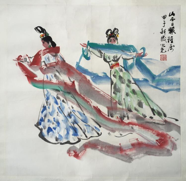 CHINESE SCROLL PAINTING OF TWO LADIES