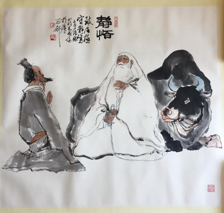 CHINESE SCROLL PAINTING OF TWO OLD MEN
