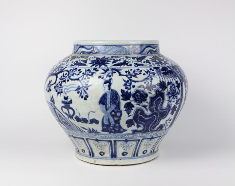 CHINESE PORCELAIN BLUE AND WHITE FIGURE JAR