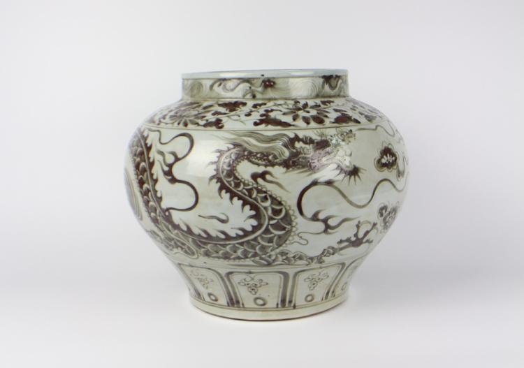 CHINESE PORCELAIN RED GLAZE DRAGON JAR