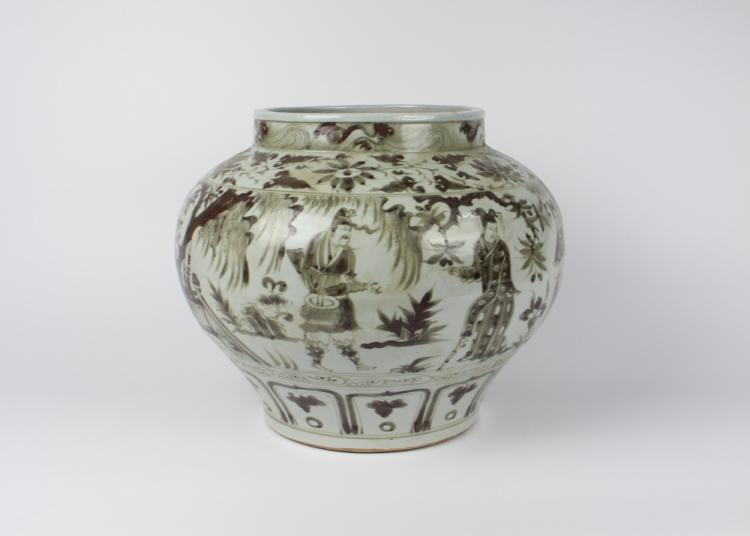 CHINESE PORCELAIN RED GLAZE FIGURE JAR