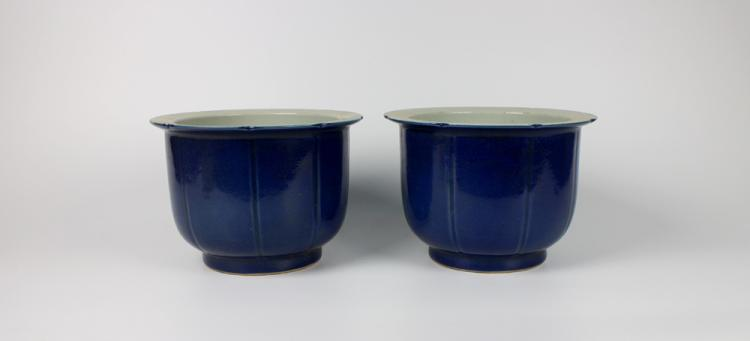 PAIR OF CHINESE PORCELAIN BLUE GLAZE PLANTERS