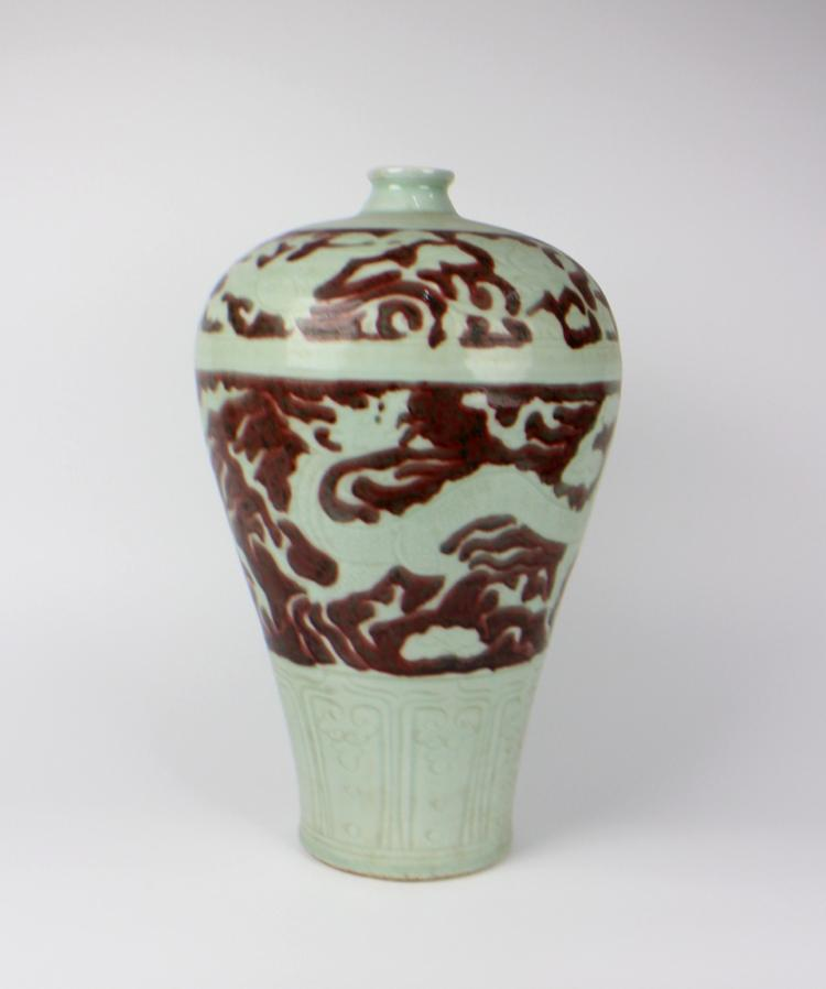 CHINESE PORCELAIN RED UNDER GLAZE WHITE DRAGON MEIPING VASE