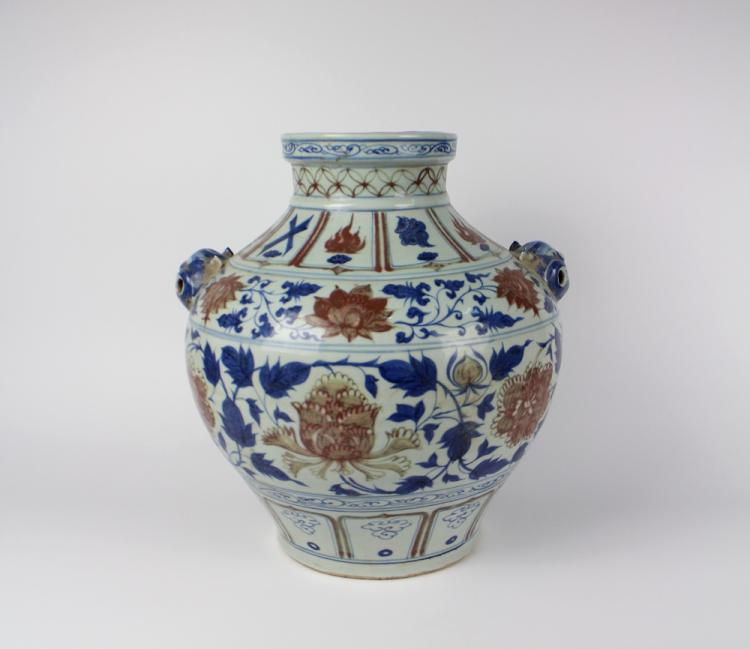 CHINESE PORCELAIN BLUE AND WHITE RED UNDERGLAZE PENOY JAR