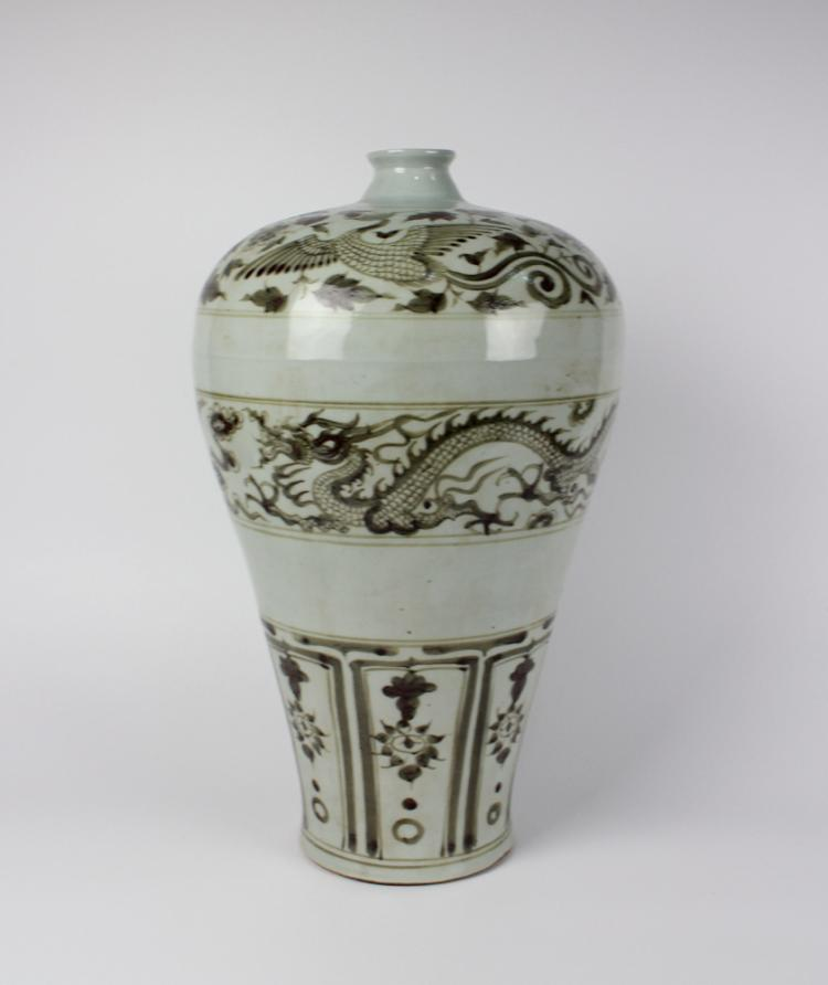 CHINESE PORCELAIN RED UNDERGLAZE DRAGON MEIPING VASE