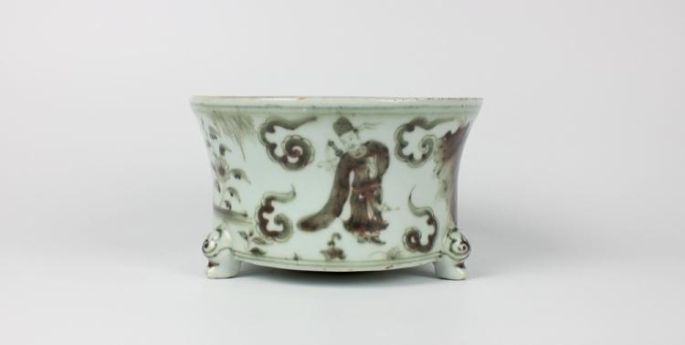 CHINESE PORCELAIN RED UNDERGLAZE CENSER