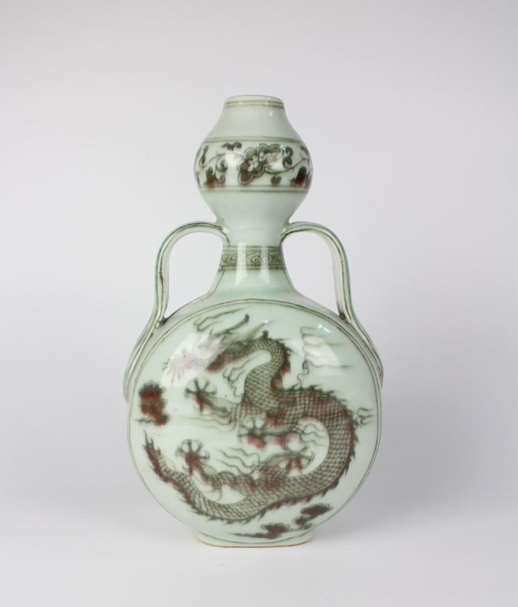CHINESE PORCELAIN RED UNDERGLAZE DRAGON GOURD VASE
