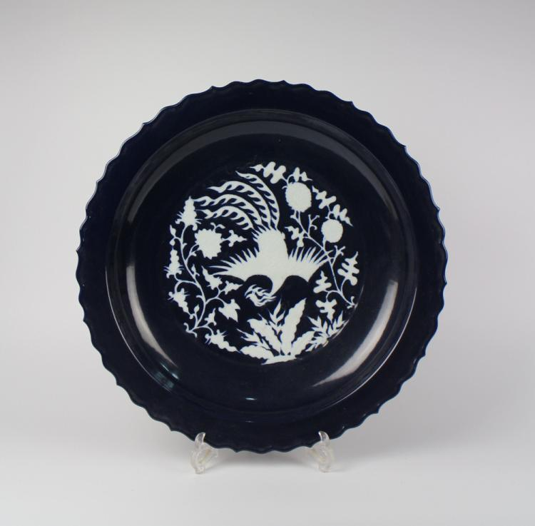 CHINESE PORCELAIN BLUE GLAZE WHITE PHOENIX CHARGER