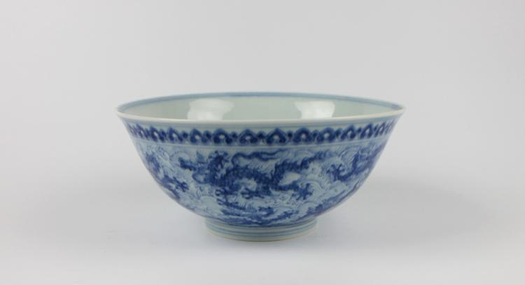 CHINESE PORCELAIN BLUE AND WHITE DRAGON BOWL