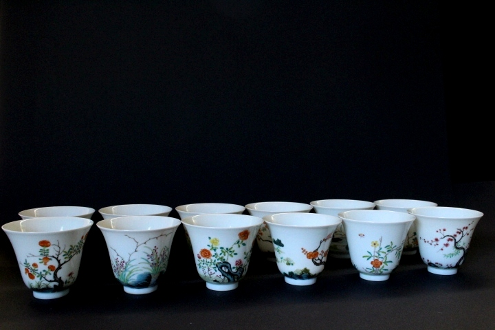 TEN CHINESE PORCELAIN FAMILLE ROSE CUPS