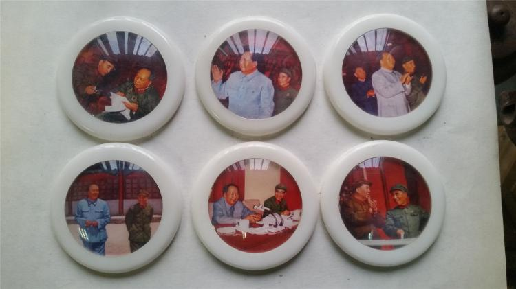 GLASS CHAIRMAN MAO BADGES