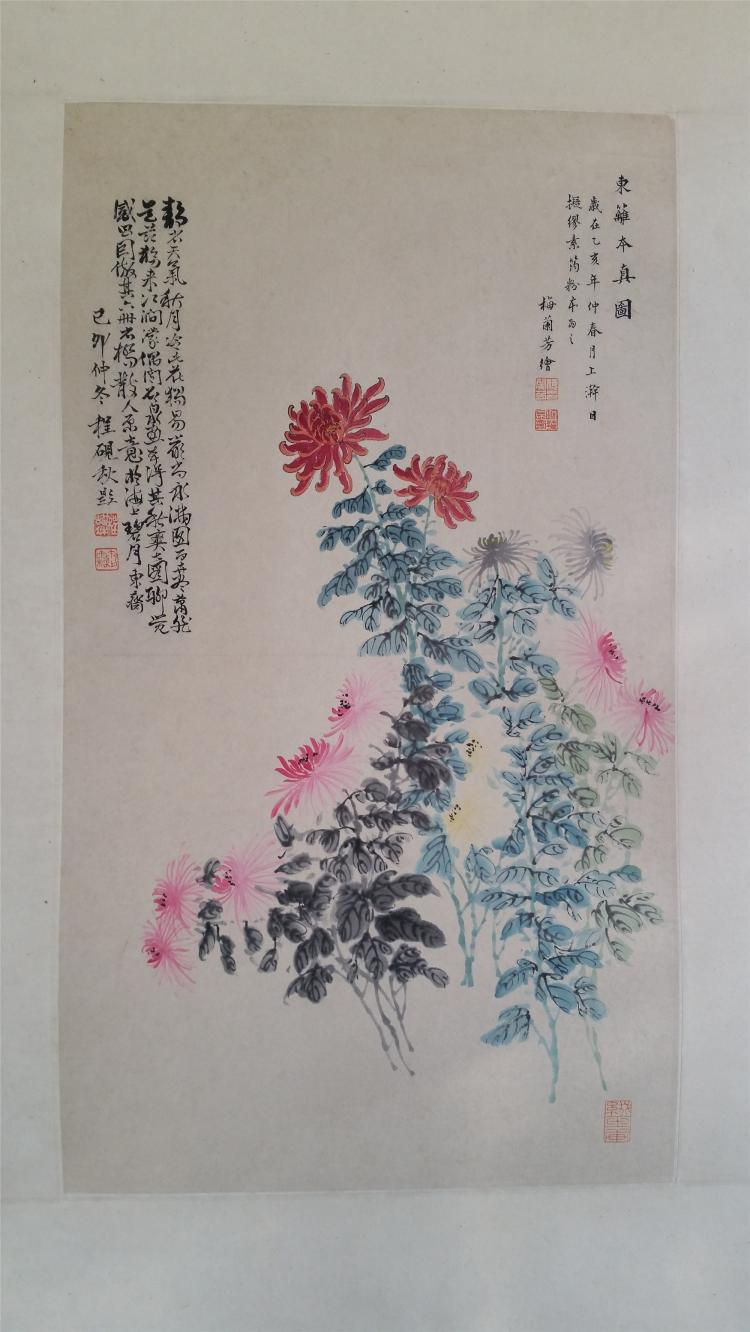 CHINESE SCROLL PAINTING OF CHRYSANTHEMUM