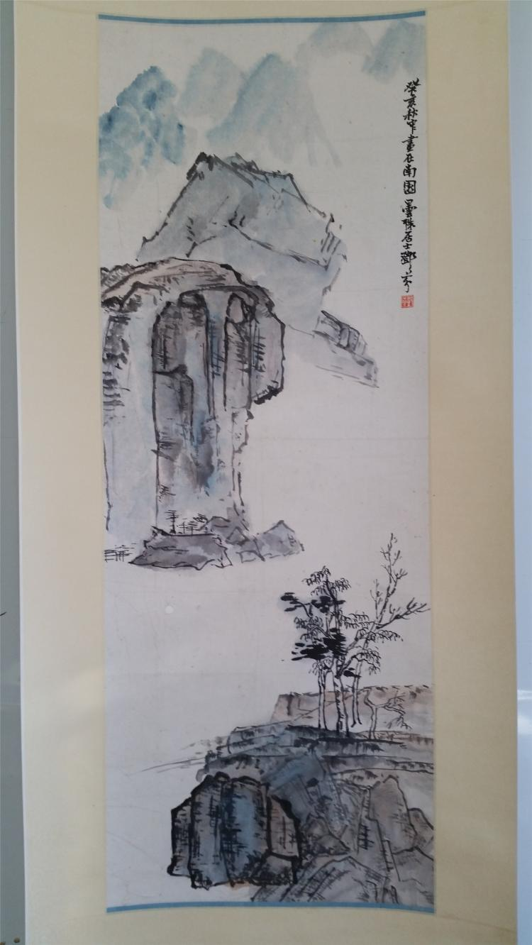 CHINESE SCROLL PAINTINBG OF MOUNTAIN VIEWS