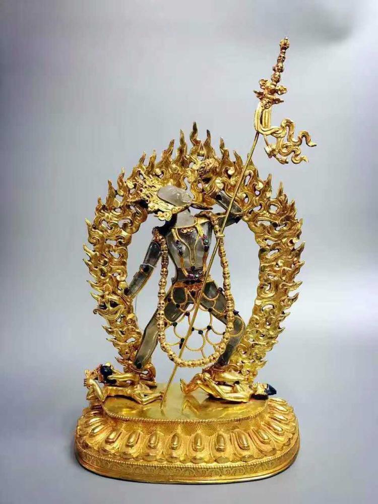TIBETAN GILT BRONZE ROCK CRYSTIAL STANDING BUDDHA
