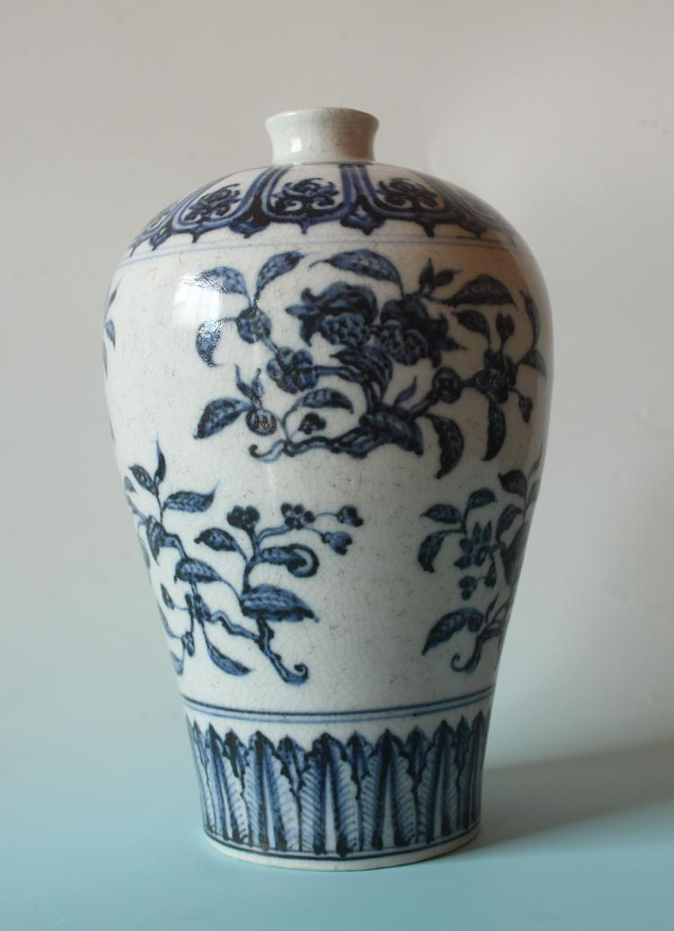 CHINESE PORCELAIN BLUE AND WHITE PEACH MEIPING VASE