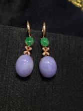 18K GOLD DIAMOND NATURAL PURPLE JADEITE EARRINGS