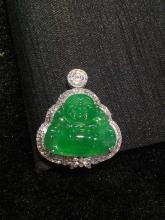 18K GOLD DIAMOND NATURAL JADEITE PENDANT