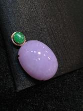 18K GOLD DIAMOND NATURAL PURPLE JADEITE PENDANT