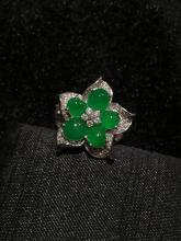 18K GOLD DIAMOND NATURAL JADEITE FLOWER RING