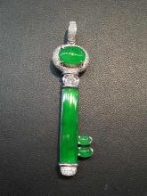 18K GOLD DIAMOND NATURAL JADEITE KEY PENDANT