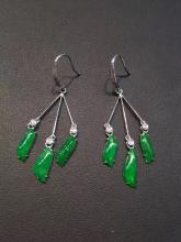 18K GOLD DIAMOND NATURAL JADEITE EARRINGS