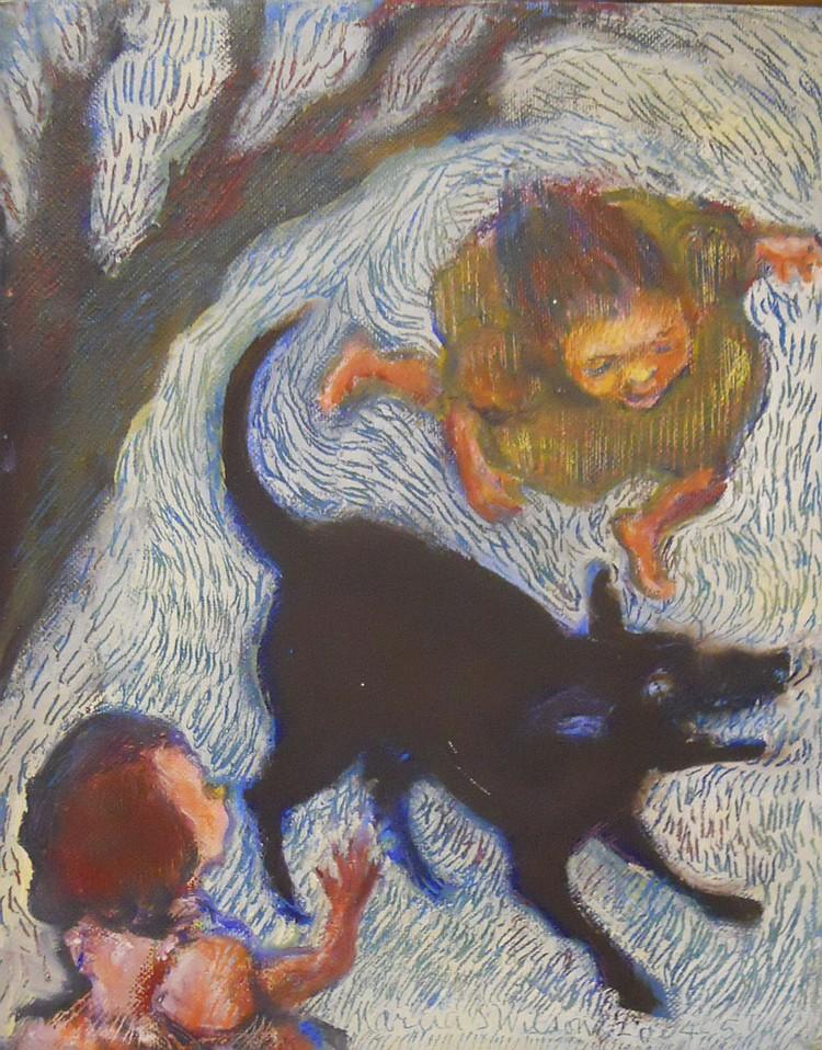 MARCIA SANDMEYER WILSON OIL ON BOARD unsigned girl in blue
